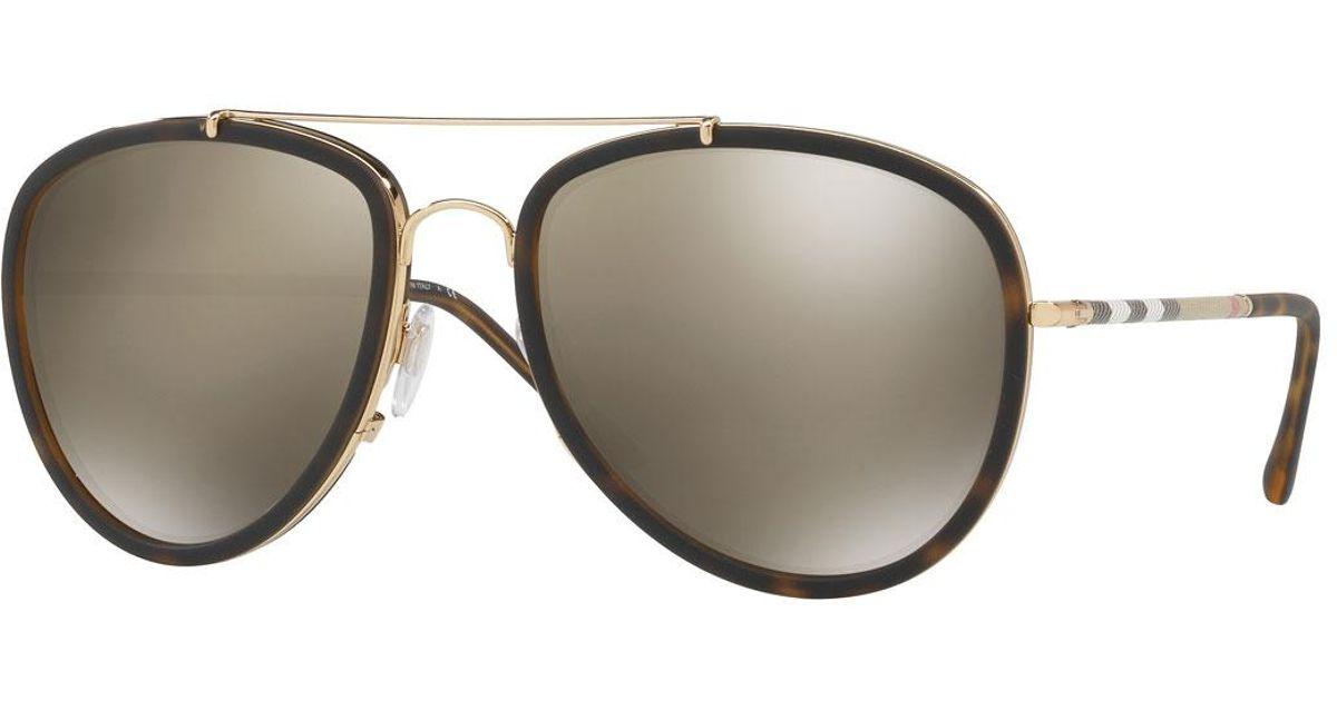 e1eff1e09904 Lyst - Burberry Steel Aviator Sunglasses W  Check Arms in Metallic