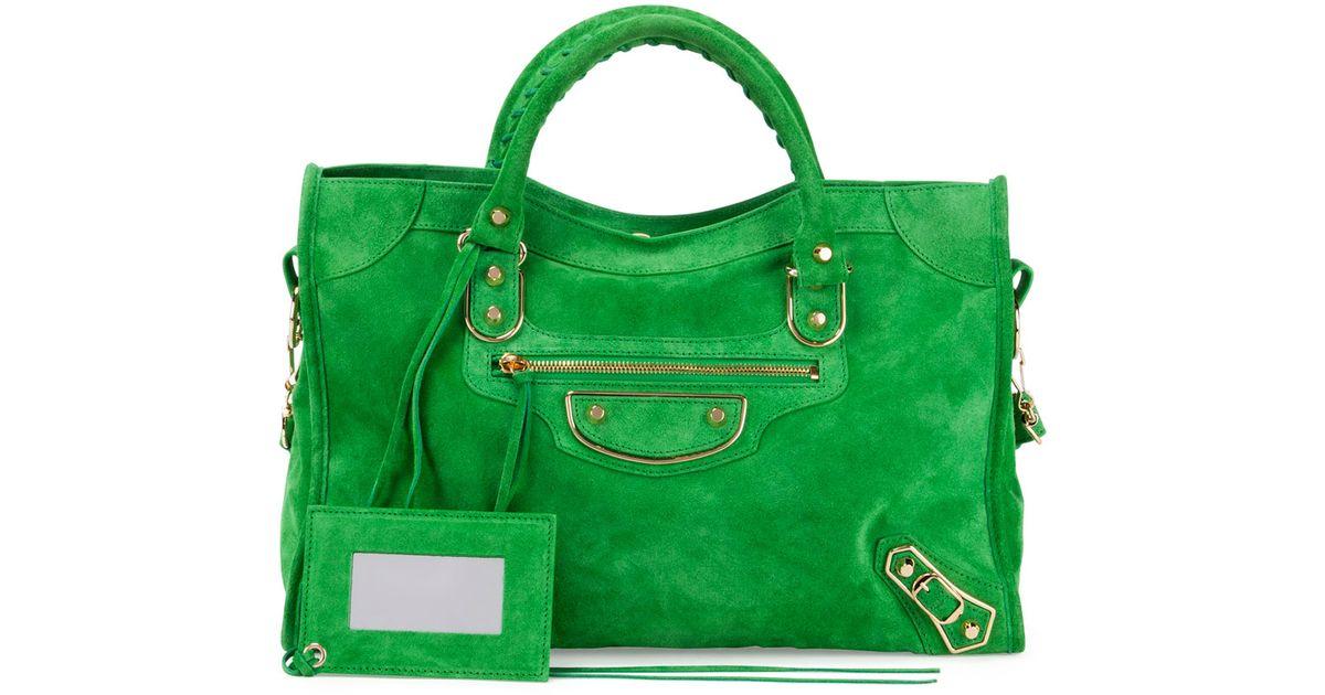 7e7b85d6001 Lyst - Balenciaga Metallic Edge Suede City Bag