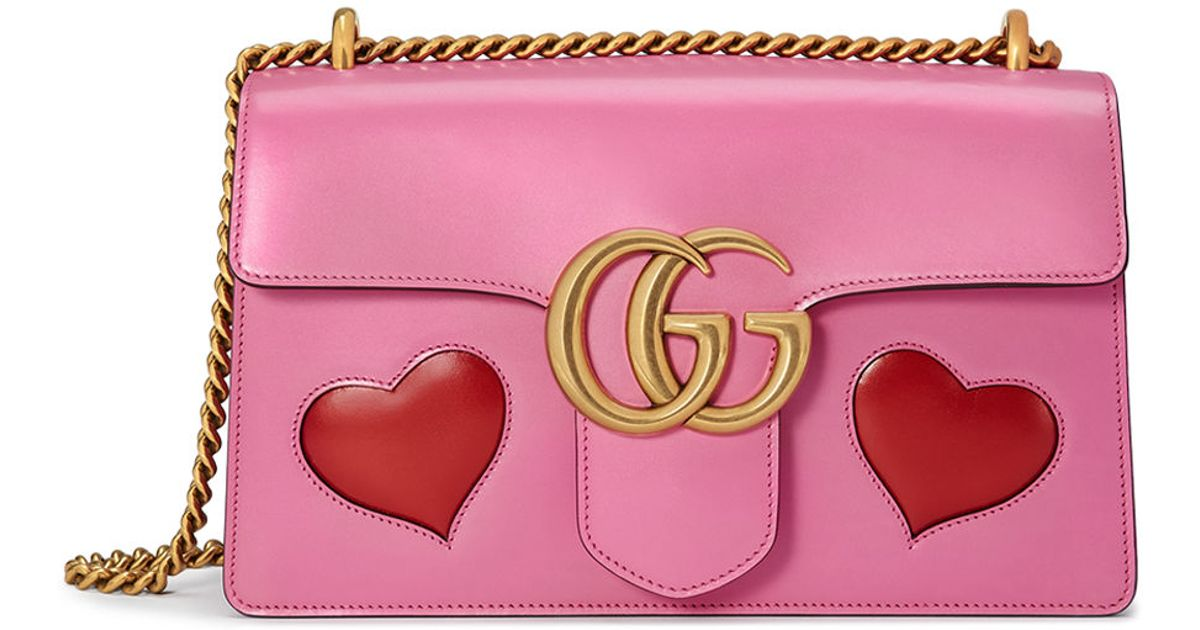 dbed3f2899ec Gucci GG Marmont Medium Heart Shoulder Bag in Pink - Lyst