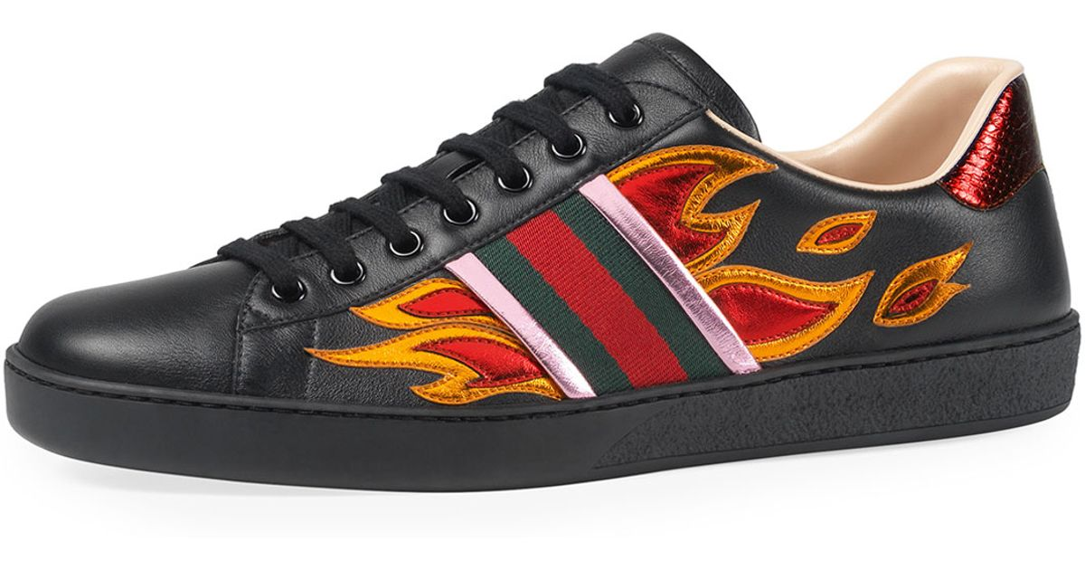 07a28582a Gucci New Ace Flames Leather Low-top Sneaker in Black for Men - Lyst