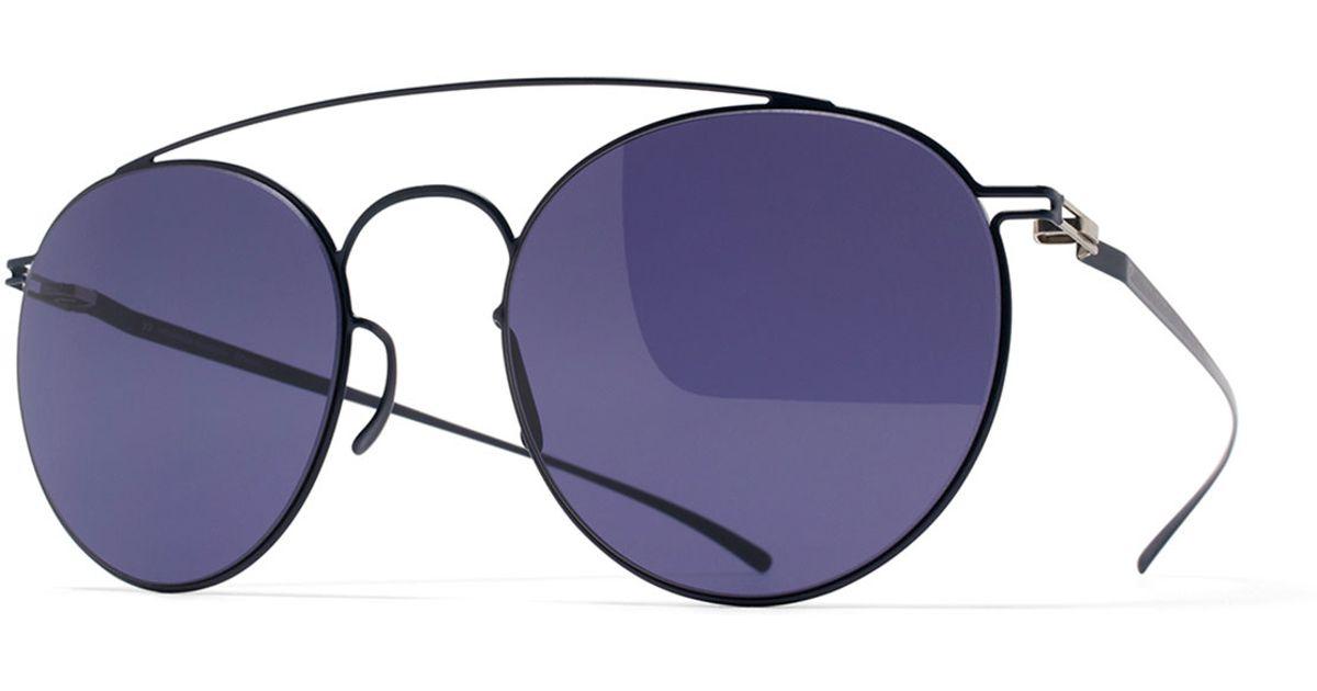 Women's Blue Esse Round Aviator Sunglasses