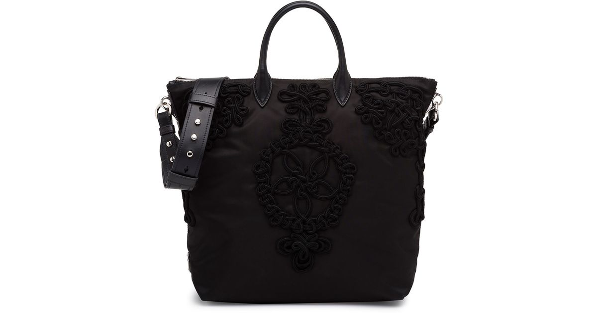 f217f823bdb6 ... promo code for lyst prada large nylon embroidered tote bag in black  749d8 1fcab