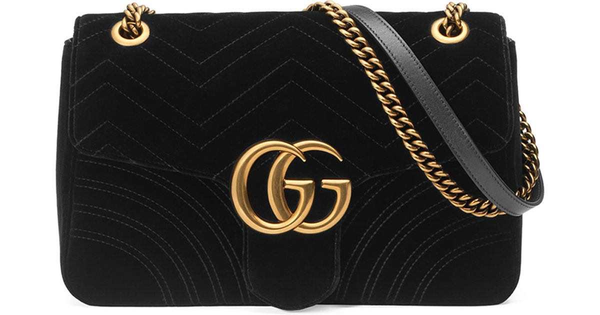 251536a28a Gucci Black Gg Marmont 2.0 Medium Suede Shoulder Bag