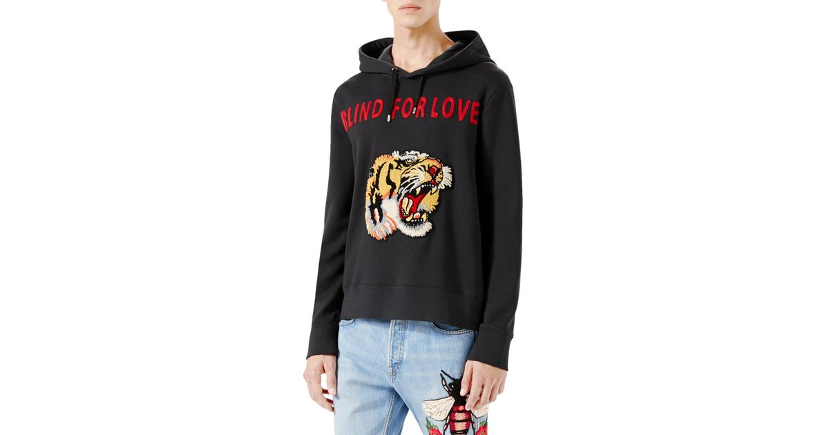 781045fd7cf Lyst - Gucci Blind For Love Tiger Sweatshirt in Black for Men