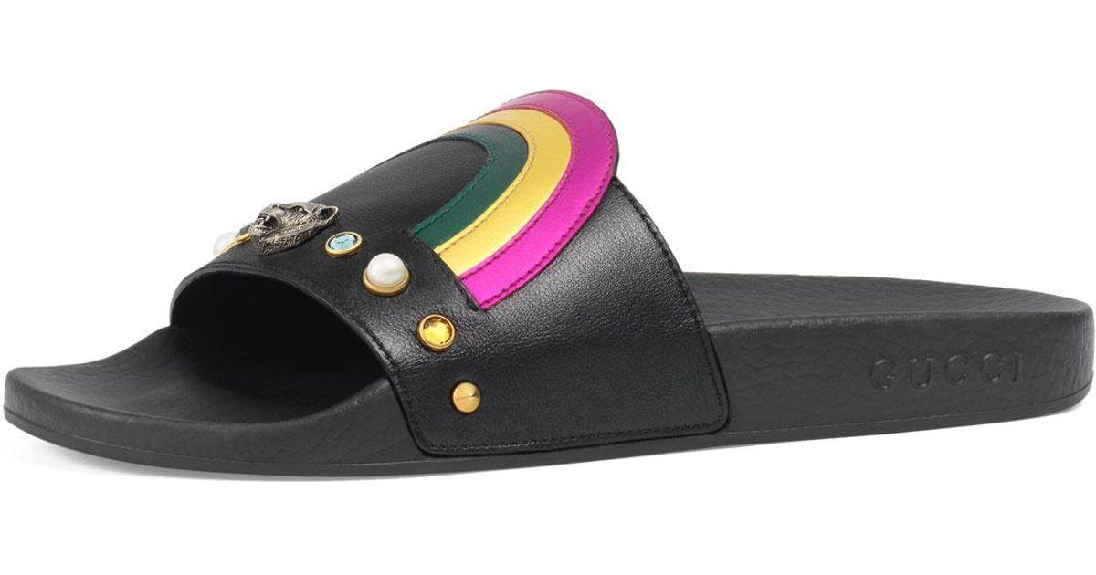 d778a2acd4af4 Lyst - Gucci Flat Pursuit Heart   Rainbow Sandal Slide in Black