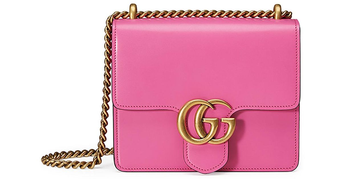 71ee1568dc39 Gucci Gg Marmont Small Leather Shoulder Bag in Pink - Lyst