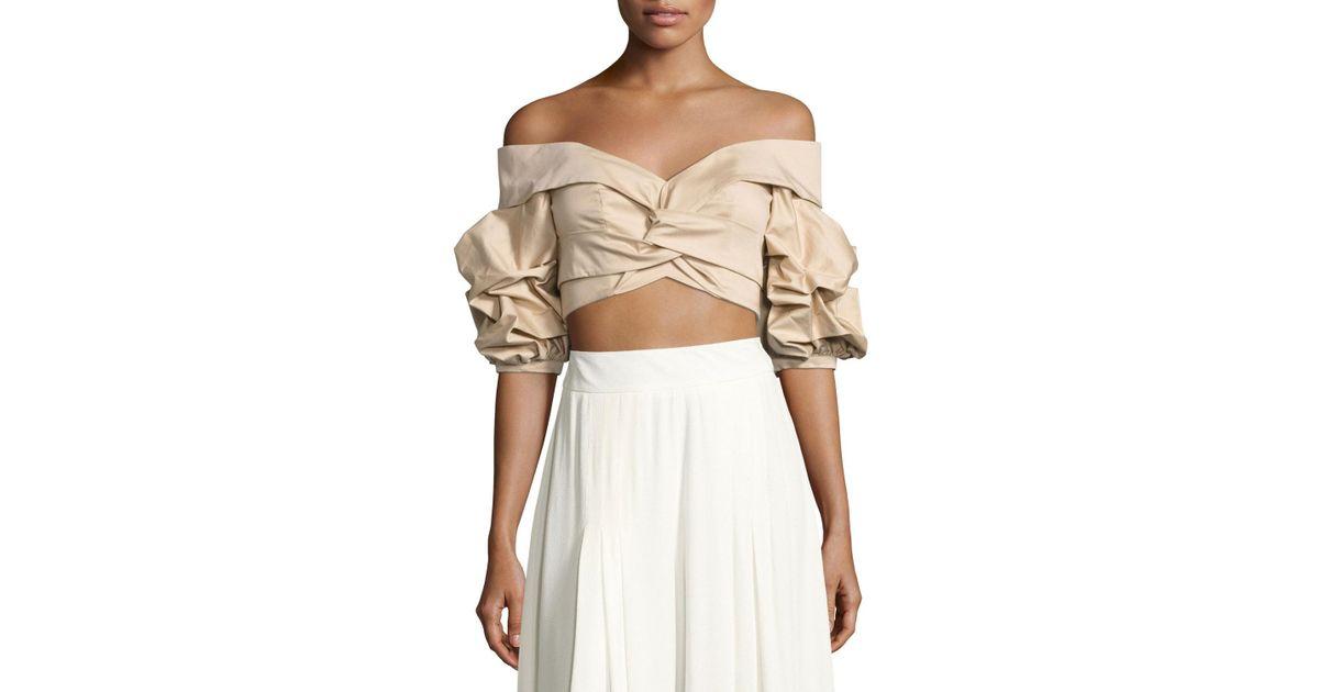 Women's Natural Mestizo Off-shoulder Sateen Crop Top