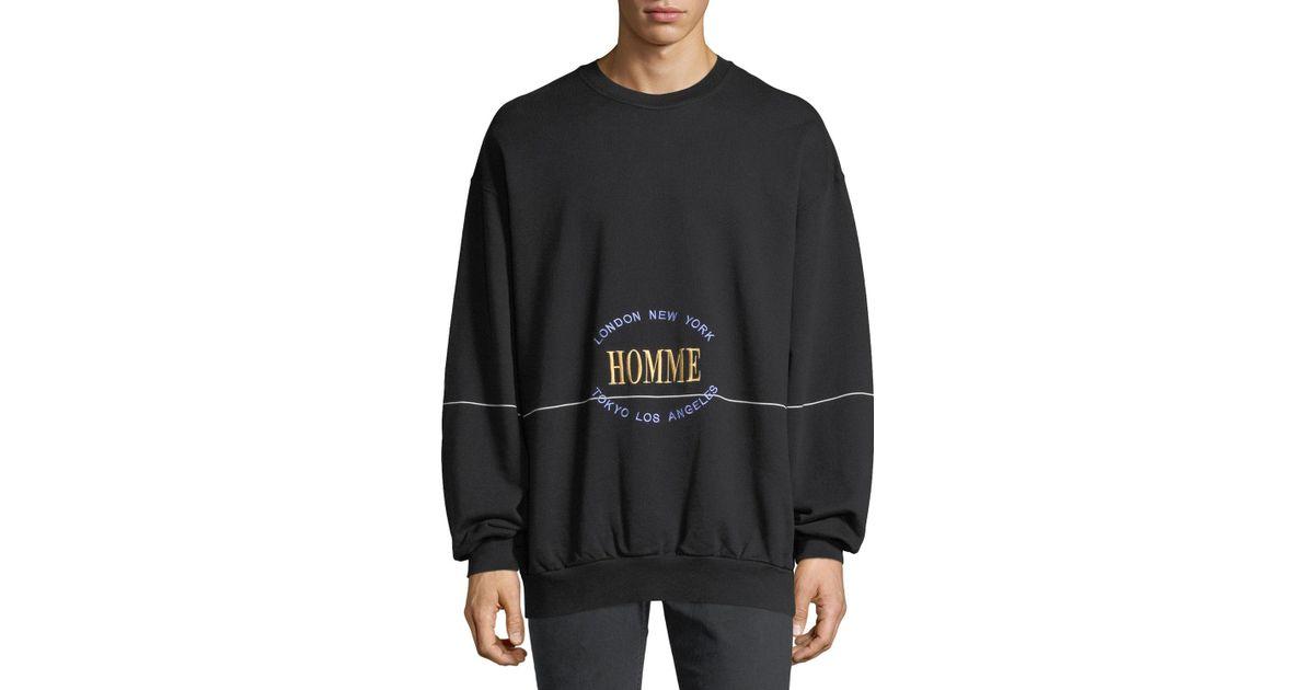 3f66d8302f51b4 Balenciaga Homme Embroidered Crewneck Sweatshirt in Black for Men - Lyst