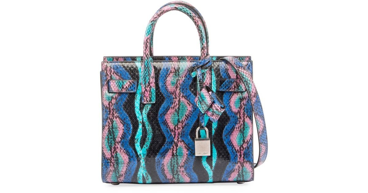 e7ffe5ee0d26 Lyst - Saint Laurent Sac De Jour Nano Curvy Stripe Snakeskin Tote Bag in  Blue
