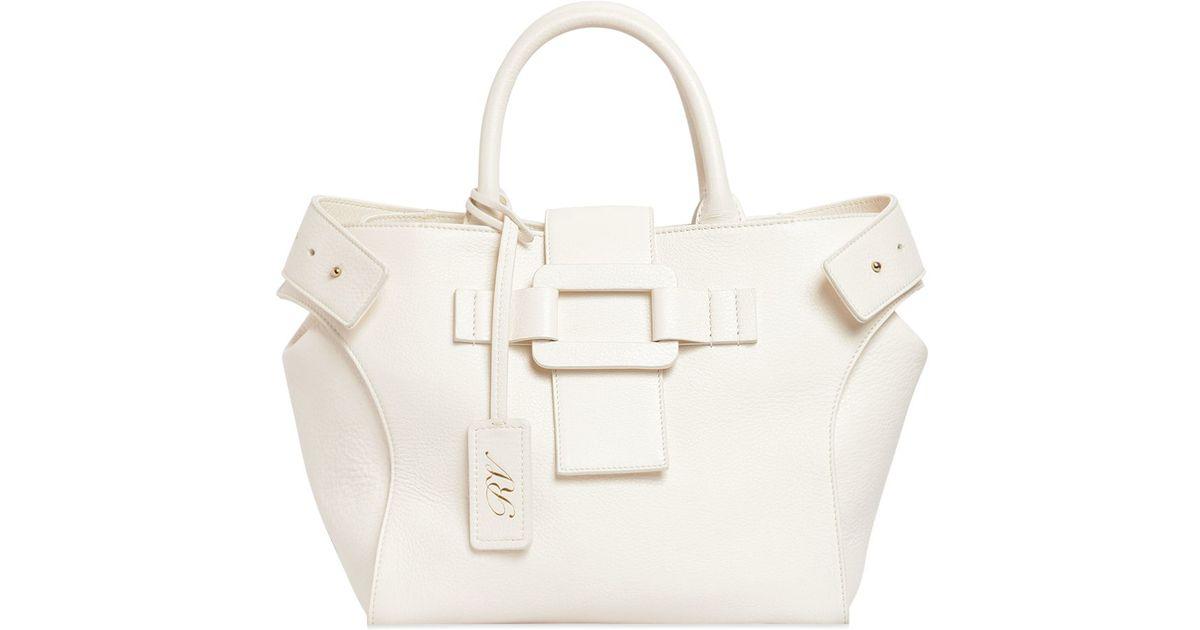 242d694fe9a9 Lyst - Roger Vivier Small Pilgrim De Jour Leather Bag in White