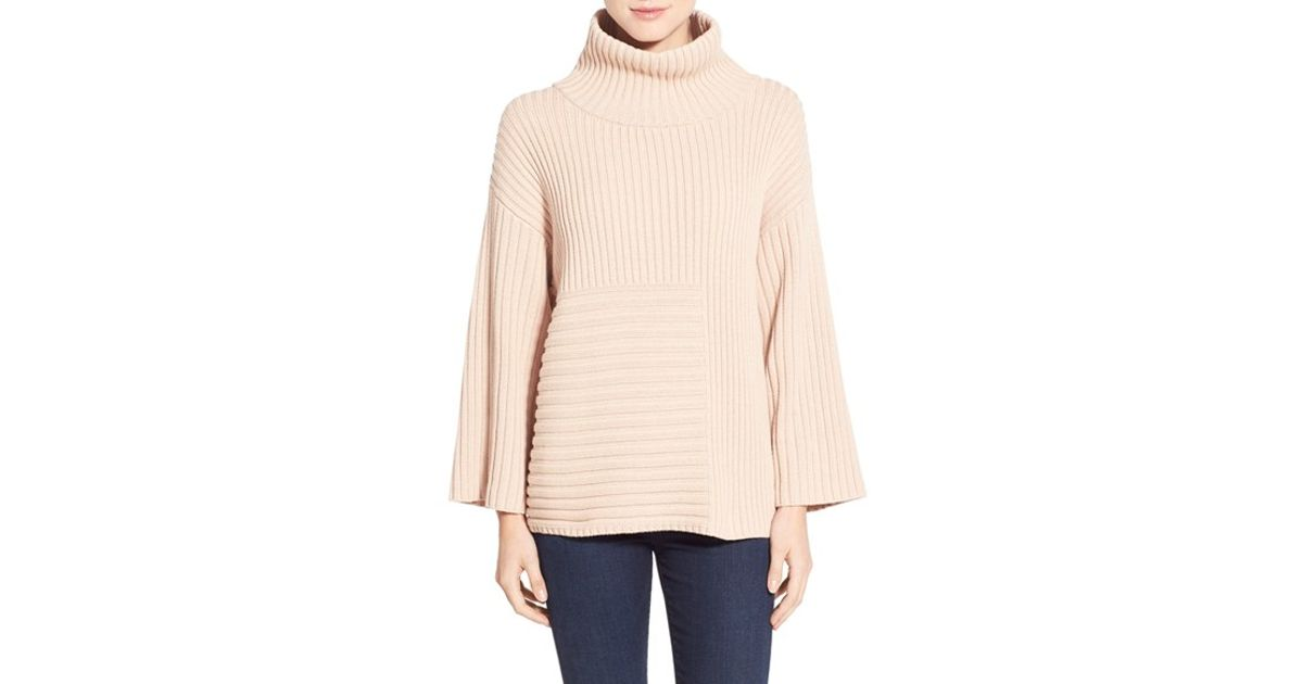 Vince camuto Ribbed Turtleneck Sweater in Natural | Lyst