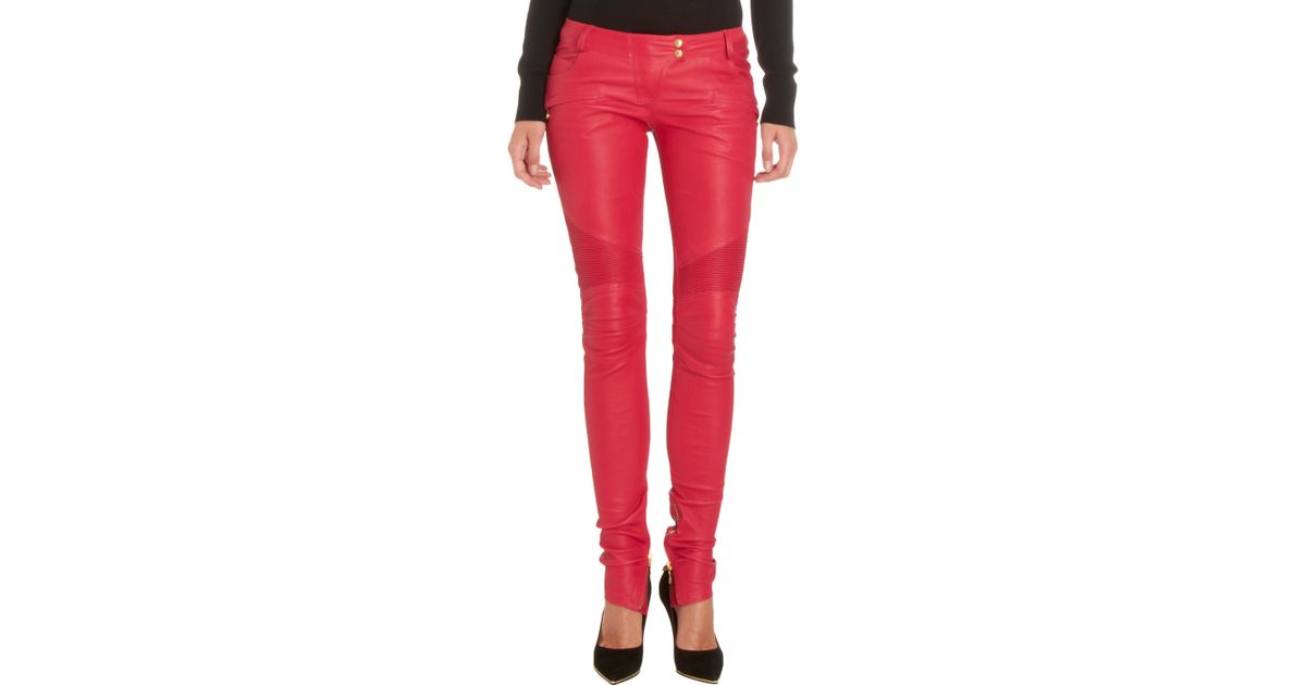 fcd175aa Balmain Leather Moto Pants in Red - Lyst
