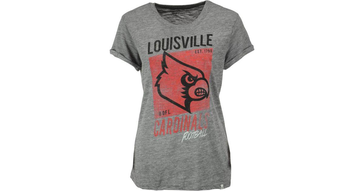 47 brand women 39 s louisville cardinals hero t shirt in gray for Louisville t shirt printing