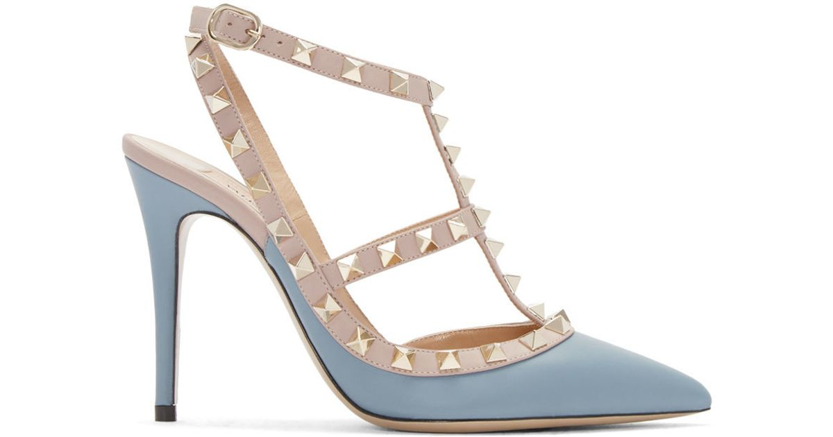 e68caa405e5f Valentino Blue   Pink Rockstud Cage Heels in Blue - Lyst