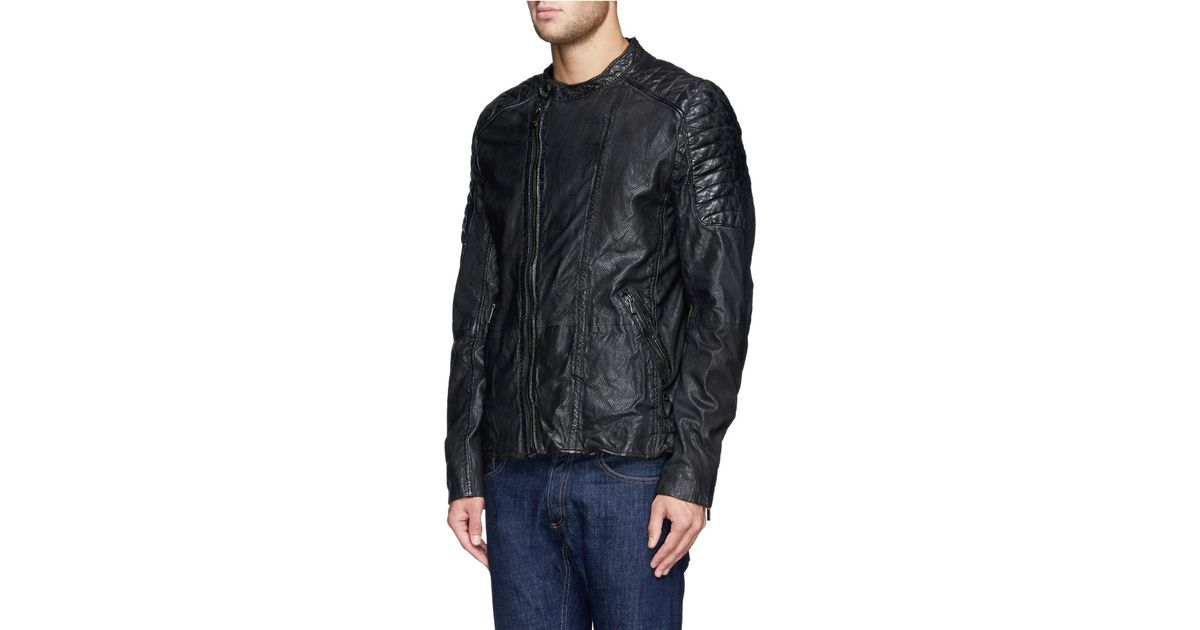 Scotch & soda Quilted Perforate Leather Biker Jacket in Black for ... : scotch and soda quilted leather jacket - Adamdwight.com