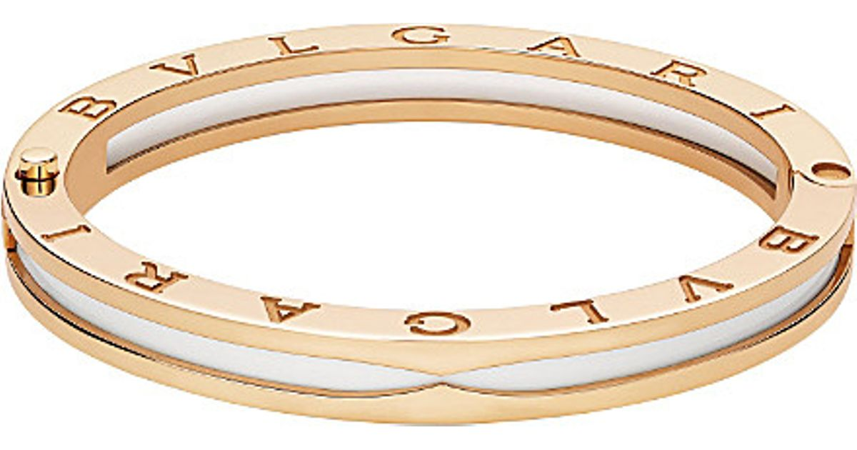 0ae484737 BVLGARI B.zero1 18ct Pink-gold And White Ceramic Bracelet in Metallic - Lyst