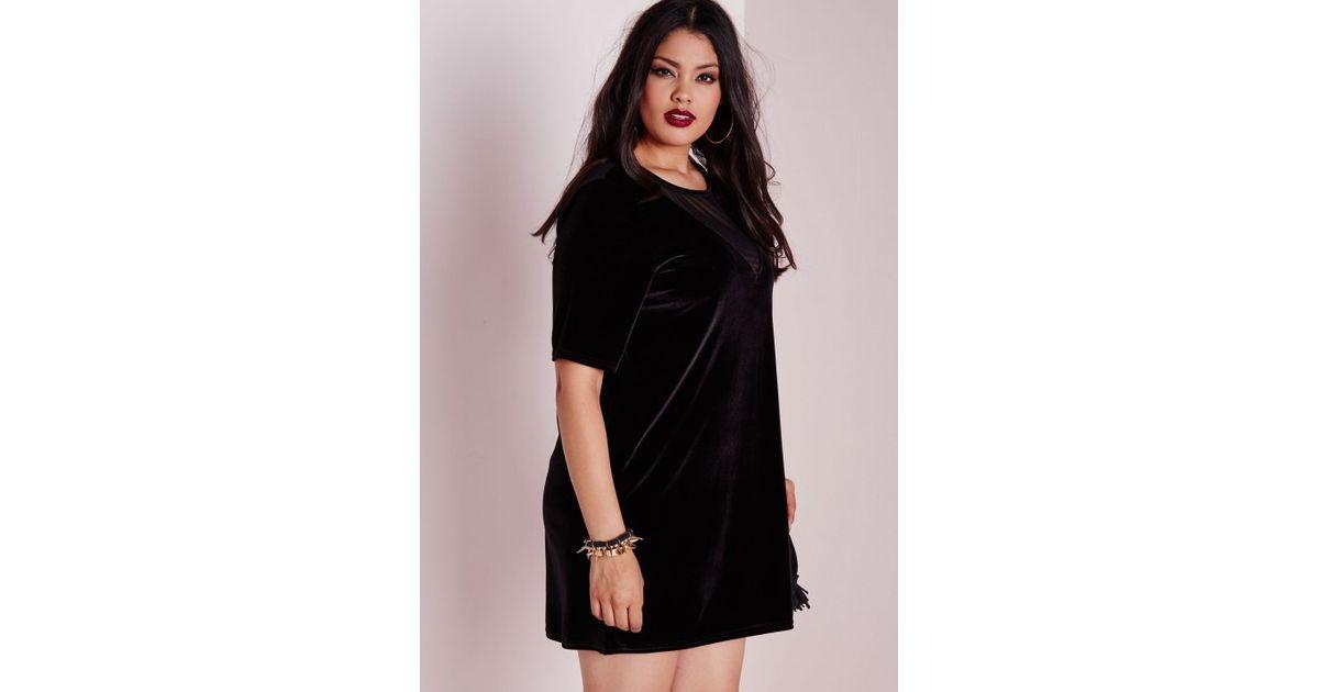 Lyst Missguided Plus Size Velvet Mesh T Shirt Dress In Black
