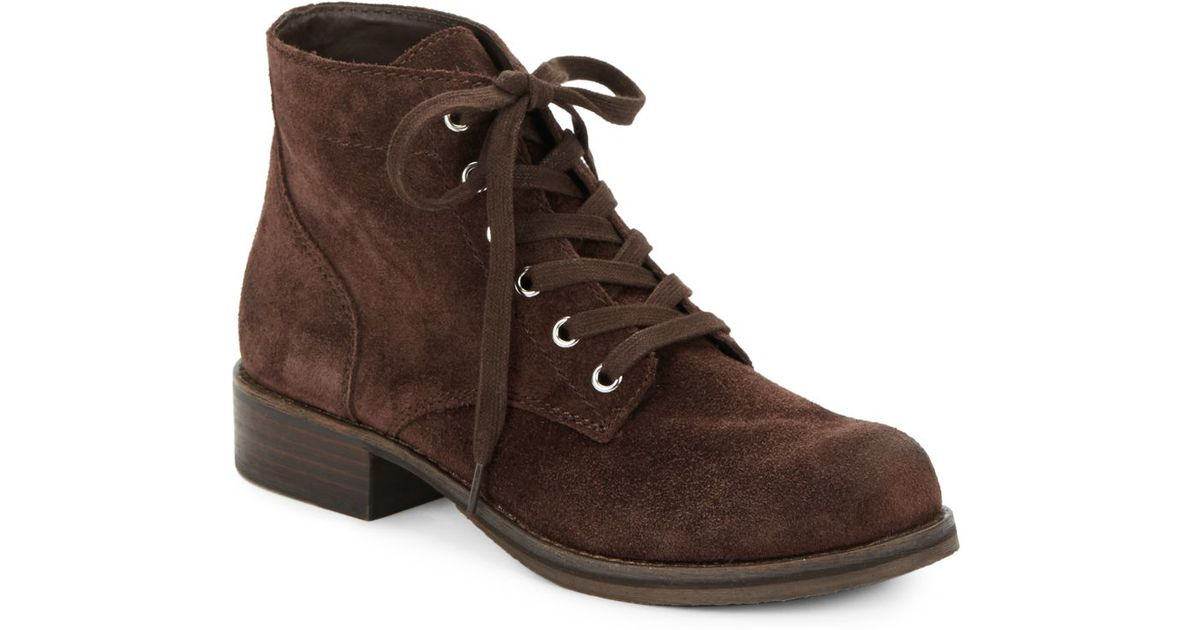 c6ca3b7cfa584 Lyst - Sam Edelman Bleecker Suede Lace-up Booties in Brown