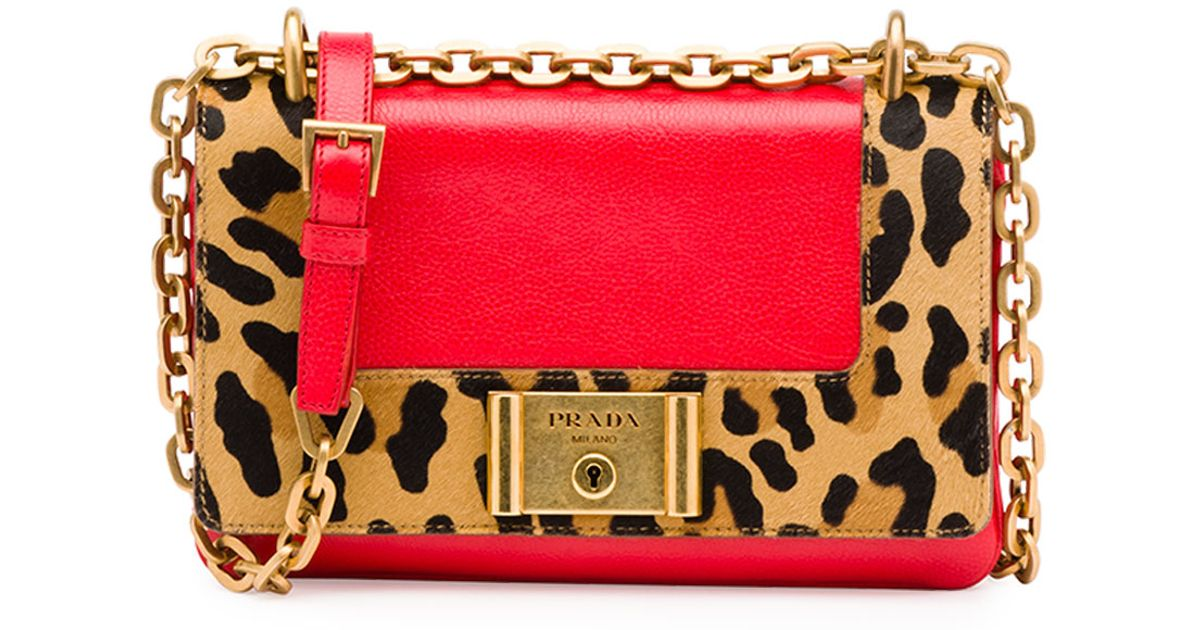 a4efcfaa3fed where to buy prada leopard print chain shoulder bag in red lacca miele lyst  39625 c824d