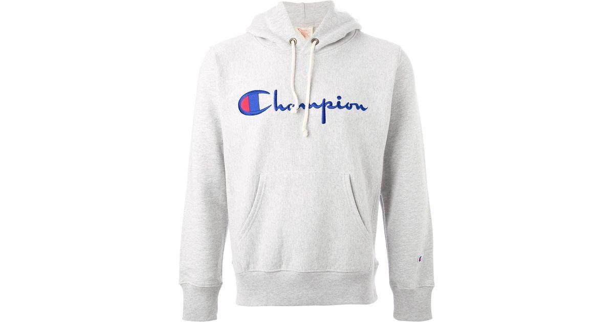 Champion Logo Hoodie in Gray for Men | Lyst