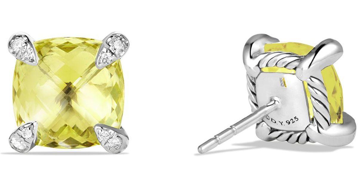 Lyst David Yurman Châtelaine Earrings With Lemon Citrine And Diamonds In Yellow