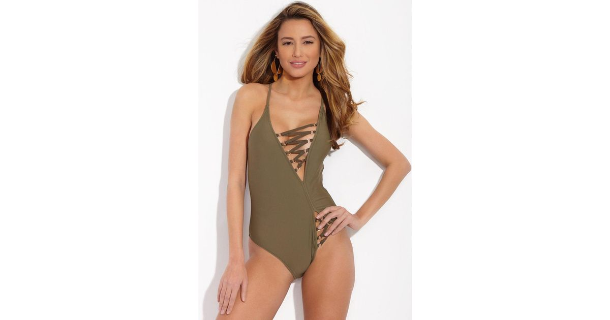 2e7f227e8f41 Lyst - GAEL LONDON Malorie Lace Up Open Back One Piece Swimsuit - Olive in  Green