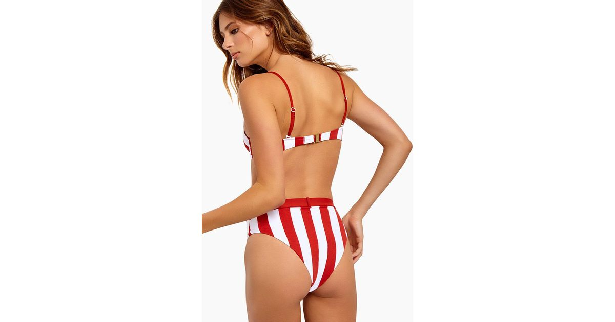 e2baba7839 Onia Emily Belted High Waist Bikini Bottom - Burnt Red Stripes in Red - Lyst