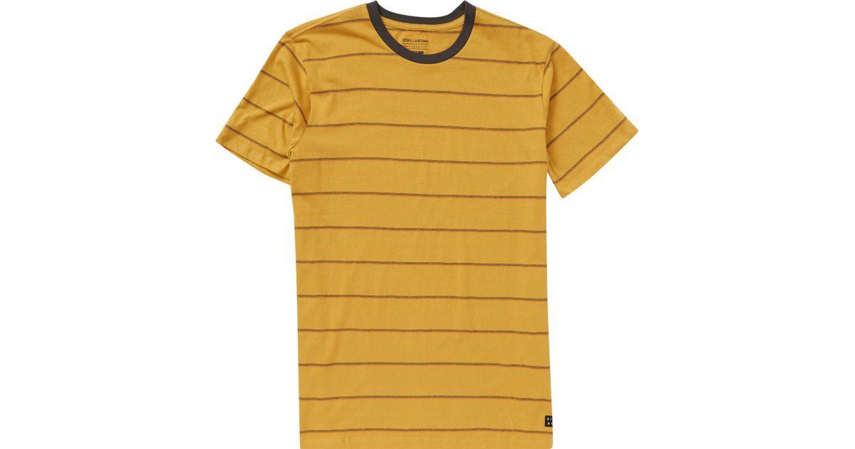 402a97b3af05 Lyst - Billabong Die Cut Stripe Short Sleeve Crew Tee in Yellow for Men