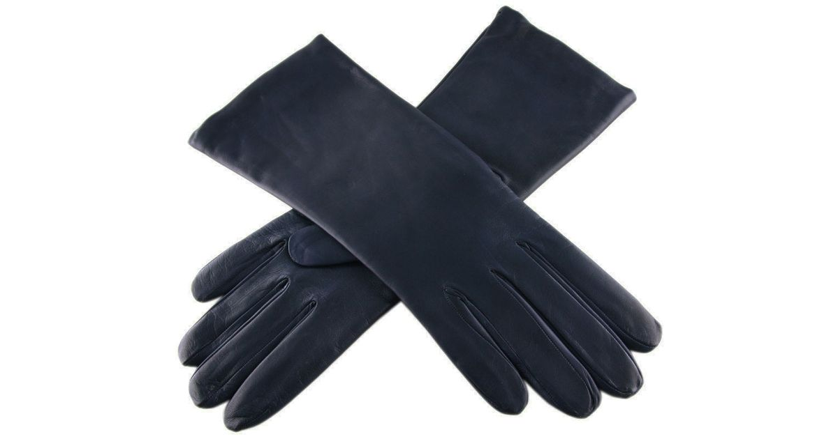 Black Co Uk Midnight Navy Blue Leather Gloves With