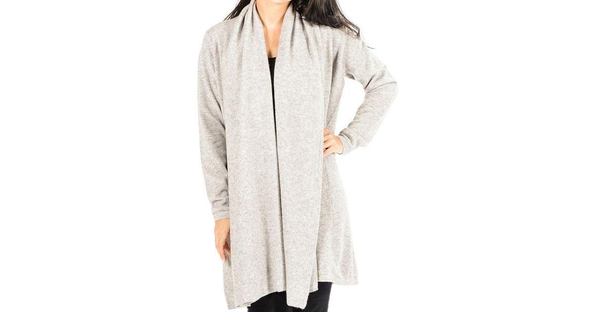 Black.co.uk Soft Grey Longline Cashmere Cardigan in Gray | Lyst