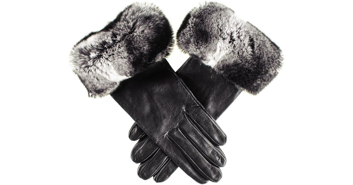 054fd30c37df3 Black.co.uk Ladies Black Leather Gloves With Chinchilla Style Rabbit Fur  Cuff in Black - Lyst