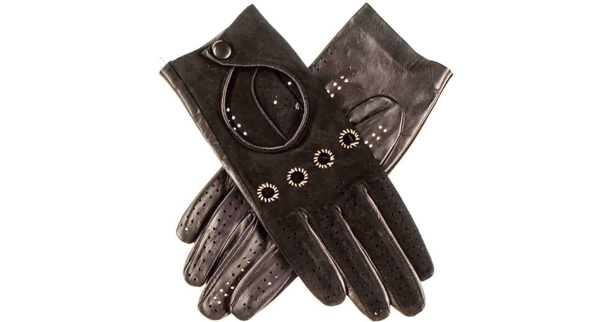 d9cd8d115ee8 Lyst - Black.co.uk Ladies Black Suede And Leather Driving Gloves in Black