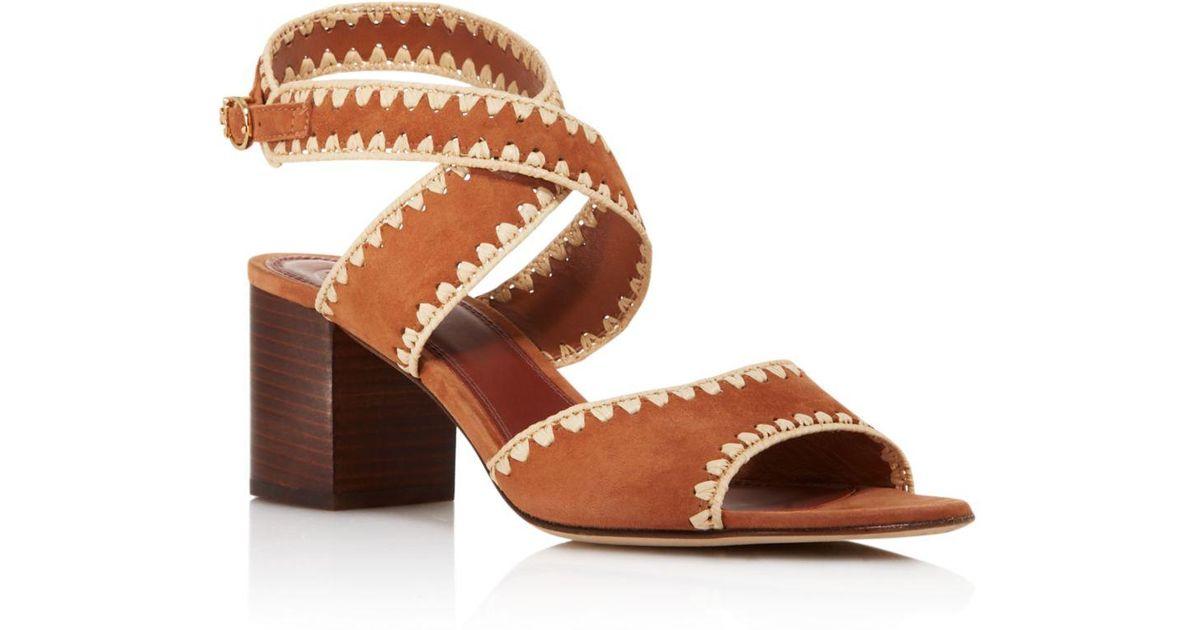 b5e0f4fd9113 Lyst - Tory Burch Women s Arianne Suede Block Heel Sandals in Brown