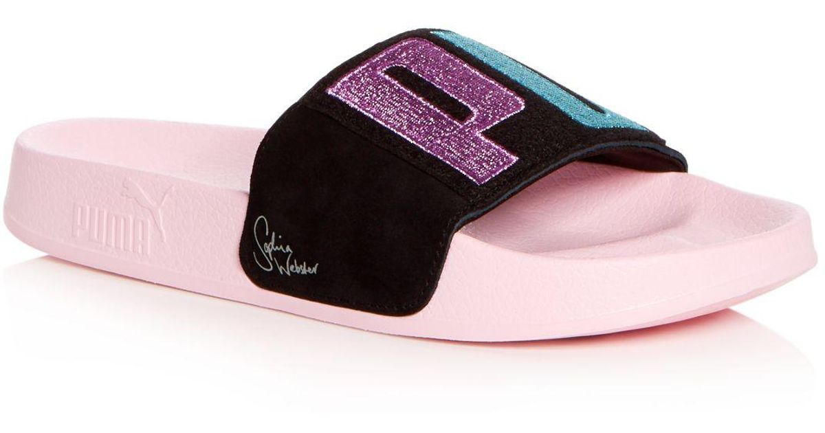 3f7caf7146a15d Lyst - PUMA X Sophia Webster Women s Leadcat Embroidered Suede Pool Slide  Sandals in Pink