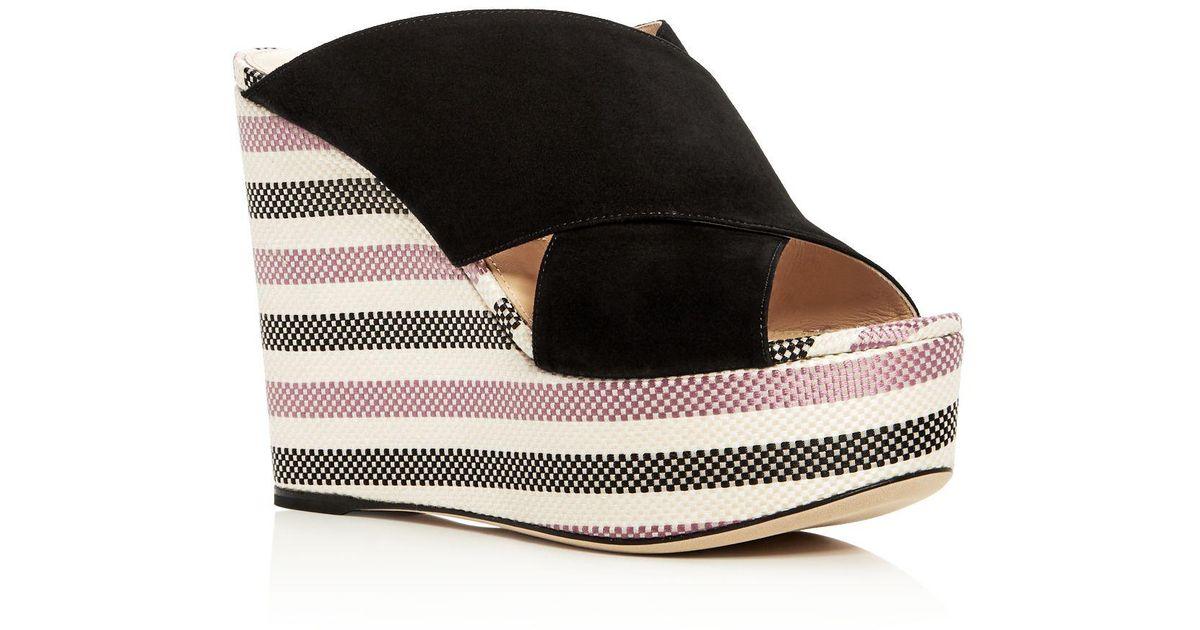 Sergio Rossi Women's Alma Suede Wedge Platform Slide Sandals - 100% Exclusive 9aIgPfJb
