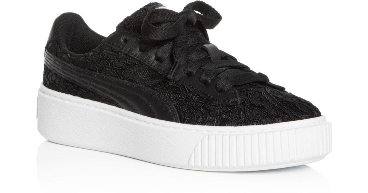 85ecb0fc6d65 Lyst - PUMA Women s Basket Classic Floral Lace Lace Up Platform Sneakers in  Black