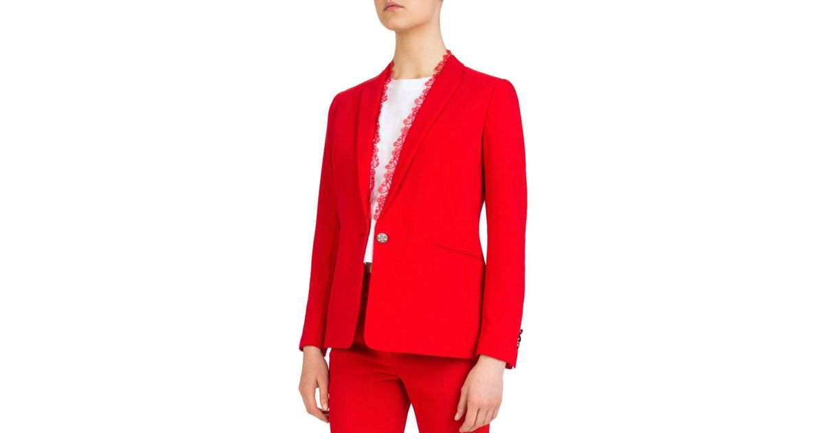 924147296d9a8 The Kooples Daisy Single-button Crepe Blazer in Red - Lyst