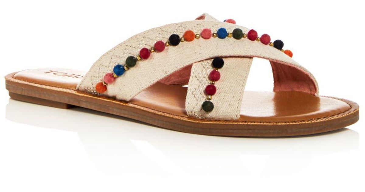 b7aa366732f TOMS Women s Viv Hemp   Leather Crisscross Slide Sandals in Natural - Lyst