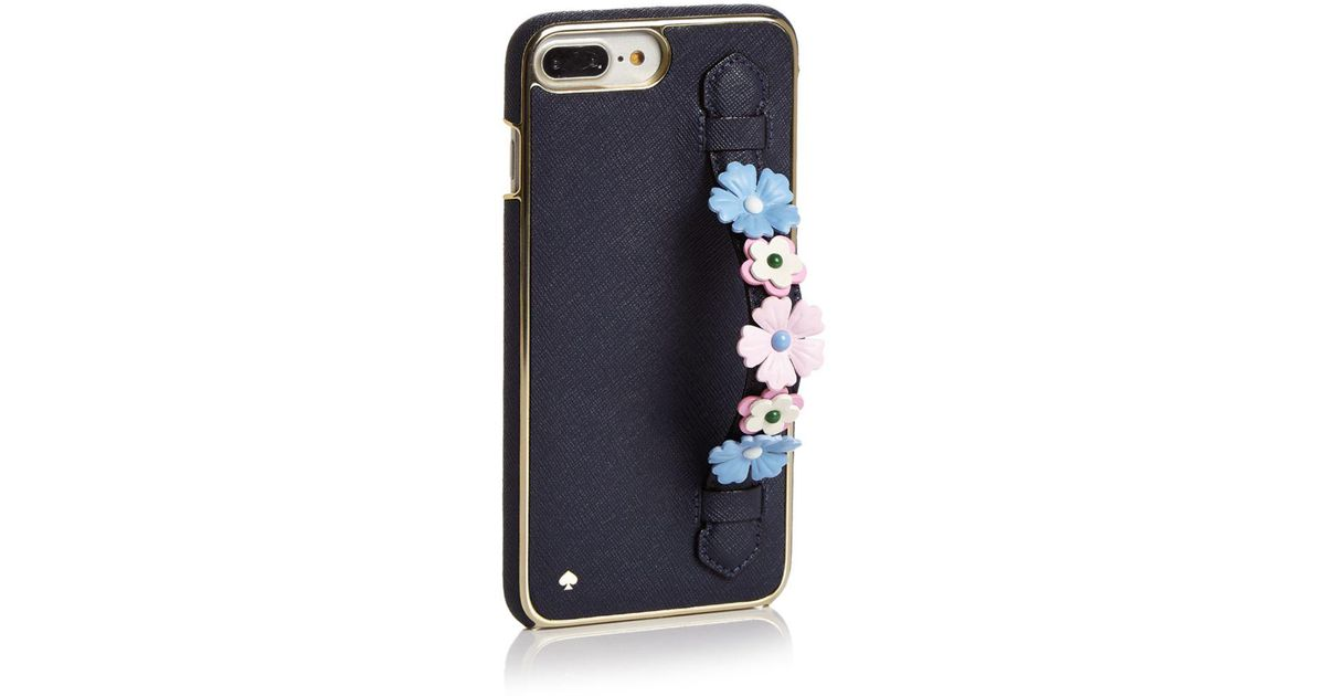 reputable site c7810 4b387 Kate Spade Black Floral Iphone 7/8 Plus Case With Hand Strap