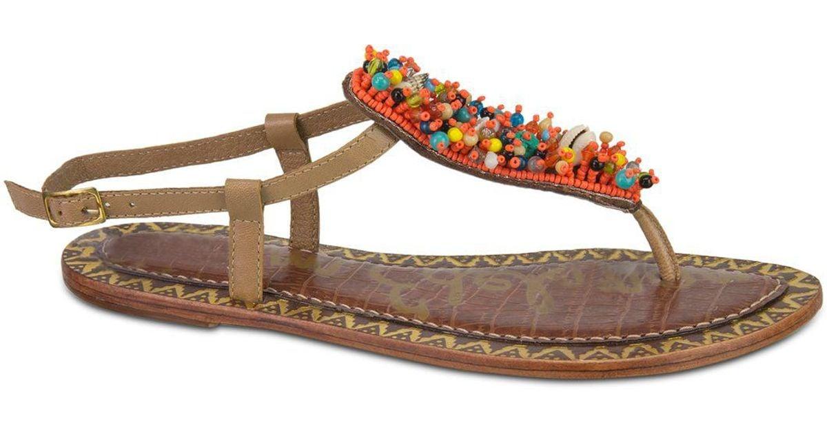 144887172500 Lyst - Sam Edelman Gabrielle Beaded Thong Sandals in Brown