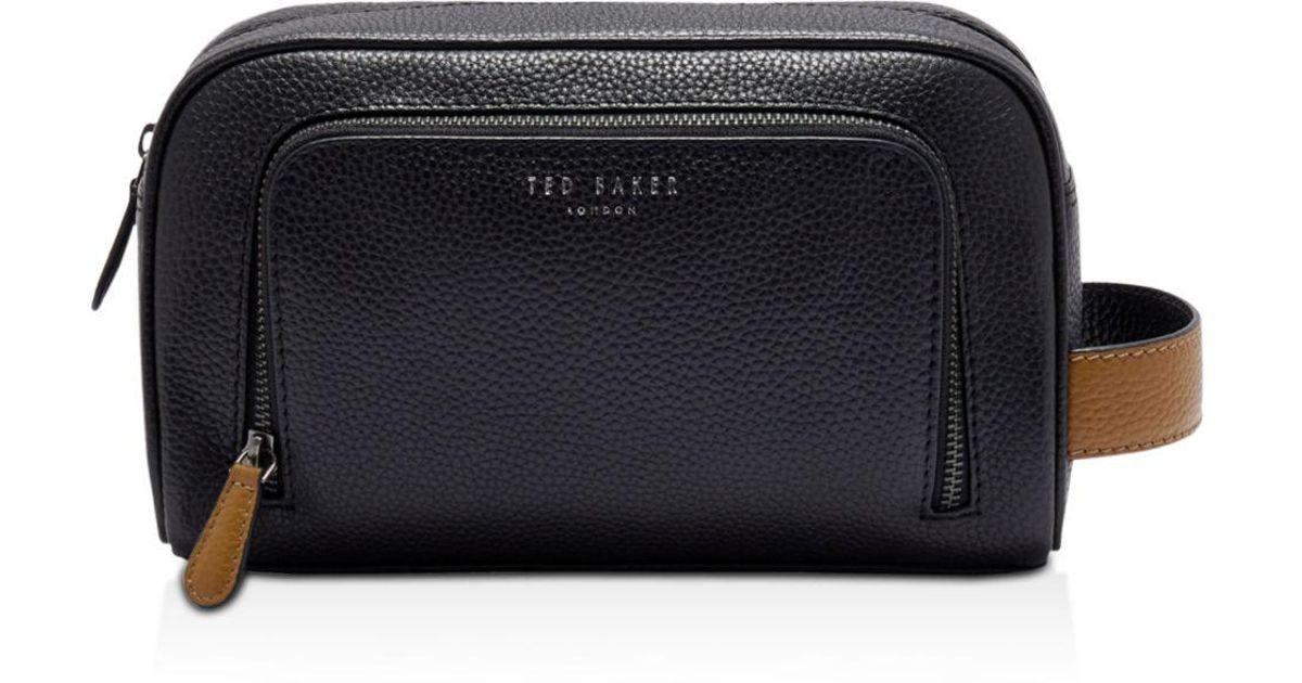 558381e5cfef79 ... huge sale cead4 e273c Lyst - Ted Baker Soaps Leather Wash Bag in Black  for Men ...