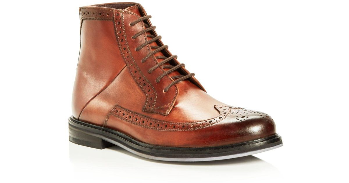 ae1ab9759 Lyst - Ted Baker Men s Miylan Leather Brogue Lace Up Boots in Brown for Men