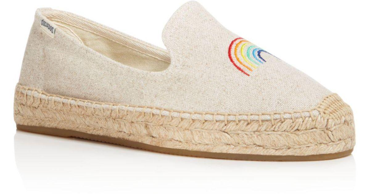 65243876a63 Lyst - Soludos X Ashkahn Women s Rainbow Embroidered Platform Espadrille Smoking  Slippers in Natural
