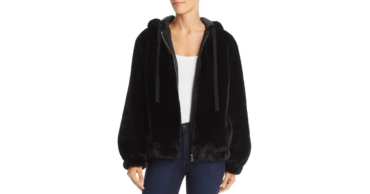 d3bd1ac1f Rebecca Taylor Black La Vie Faux - Fur Hooded Bomber Jacket