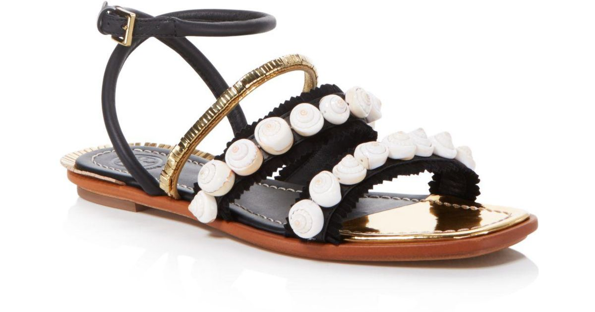 c9a4a10a168b21 Lyst - Tory Burch Sinclair Seashell Sandals in Black