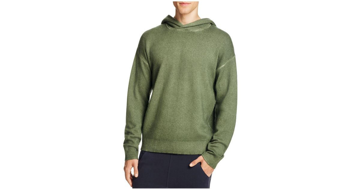 Vince Wool Cashmere Pullover Hoodie Sweater in Green for Men | Lyst
