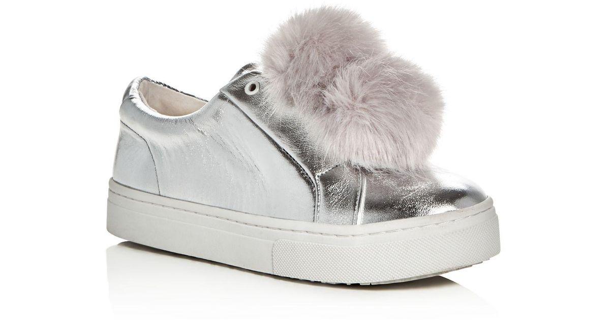 fcf259bf1a27 Lyst - Sam Edelman Leya Metallic Faux Fur Pom-pom Slip-on Sneakers in  Metallic