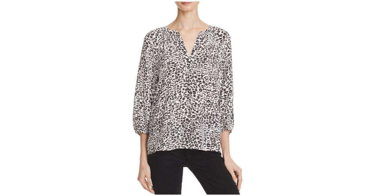 26317a4a54fe2f Lyst - Joie Addie B Animal Print Silk Blouse in Black