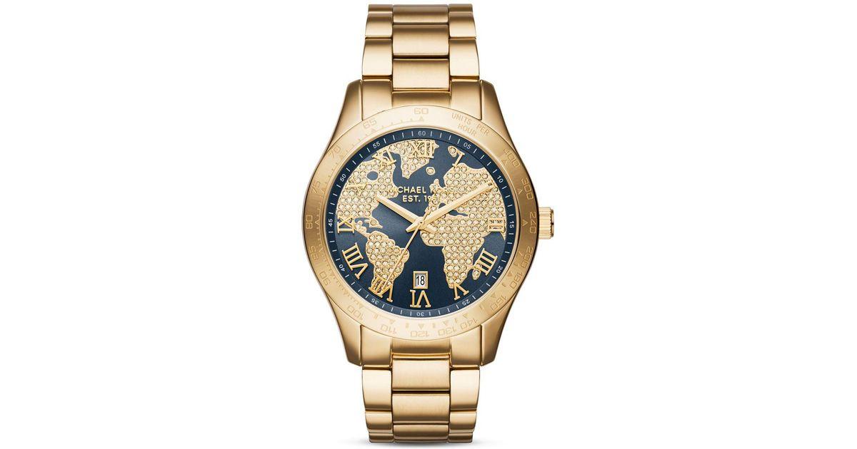 b1c4b3b15a07 Lyst - Michael Kors Women s Layton Gold-tone Stainless Steel Bracelet Watch  44mm Mk6243 in Metallic