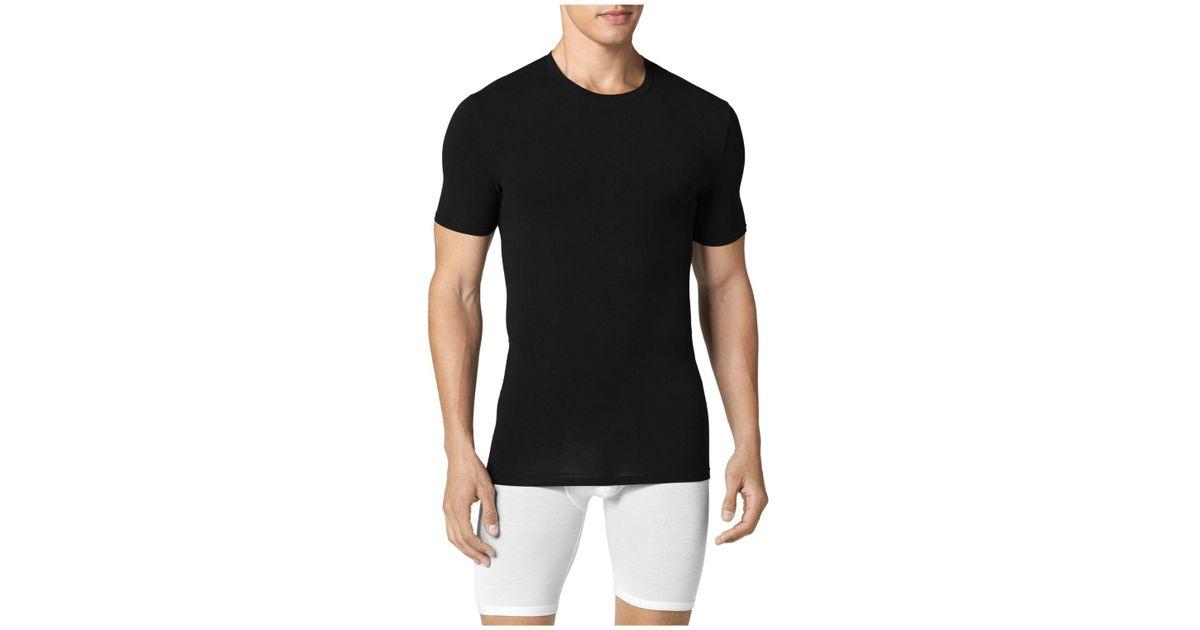 ec7032e42d3e8b Lyst - Tommy John Second Skin Crewneck Tee in Black for Men - Save  6.976744186046517%
